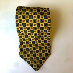 GILDA'S CLUB Tie 100% Silk Made in USA Yellow Blue